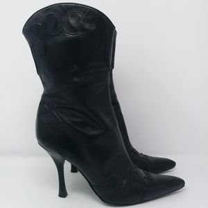 BCBGirls Black Pointed Toe Cowgirl Booties